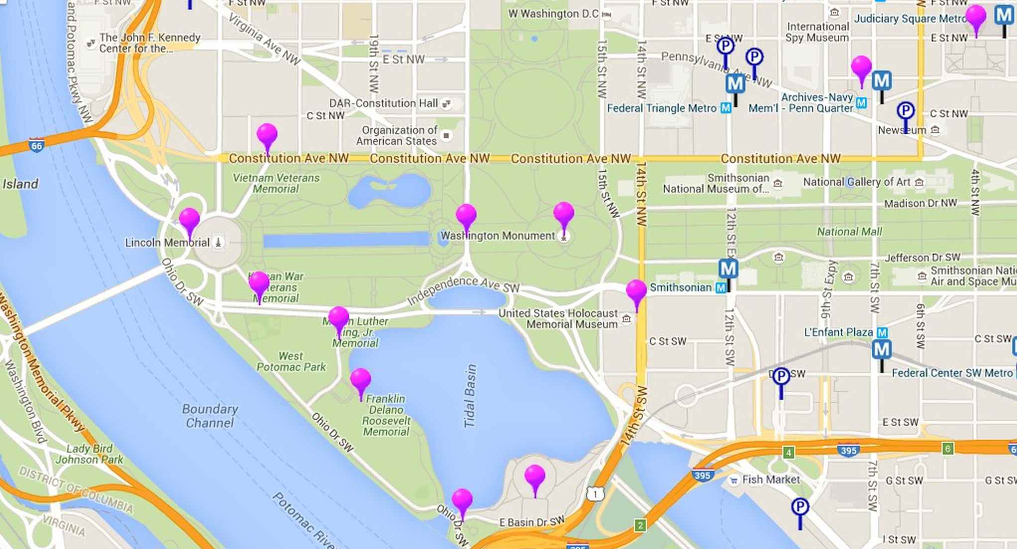 Map Of Monuments And Memorials In Washington D C