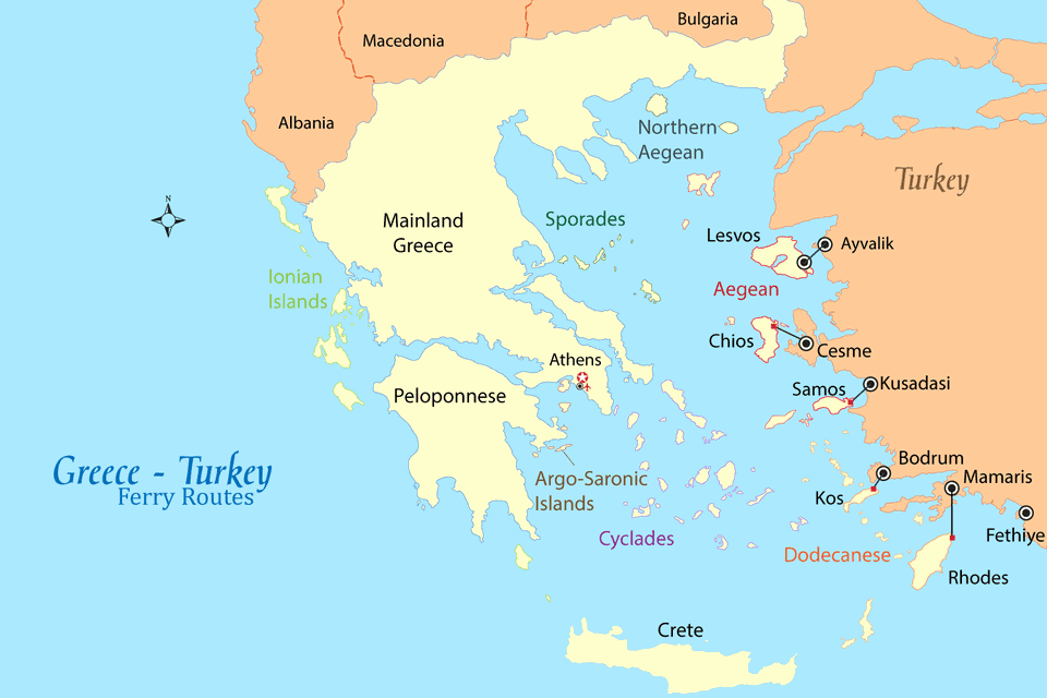 greece turkey ferry map