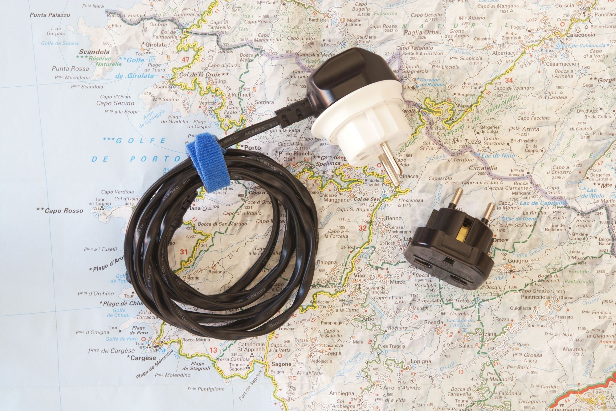 hight resolution of adapter plugs and transformers for greece corsica european electric
