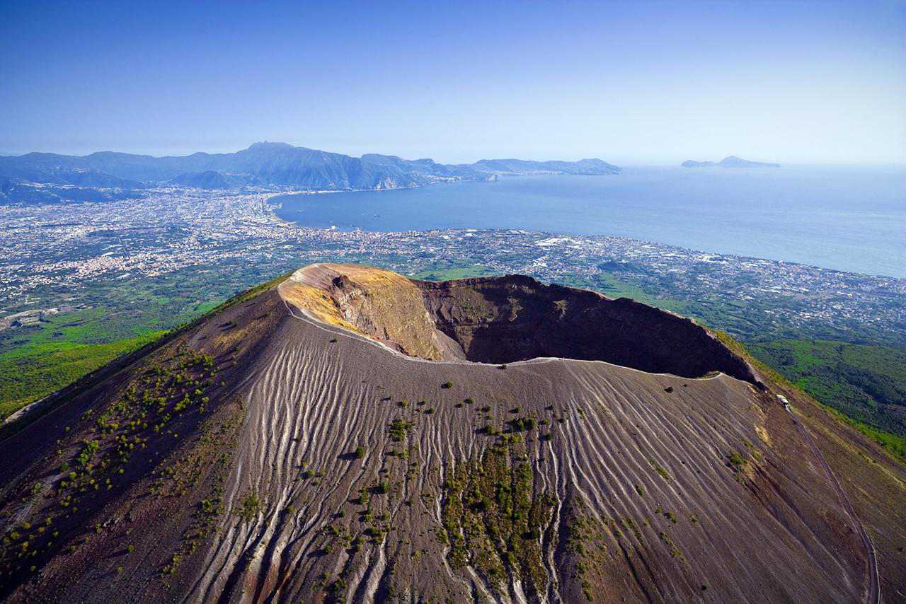 hight resolution of crater of volcanic mt vesuvius aerial view