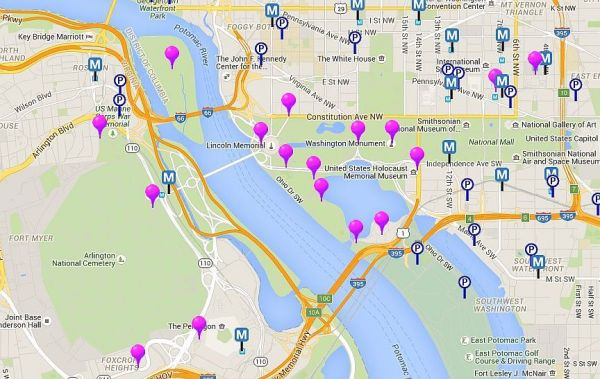 Map of Monuments and Memorials in Washington DC