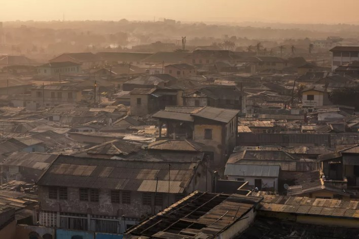 Rooftops of Accra's Jamestown neighborhood