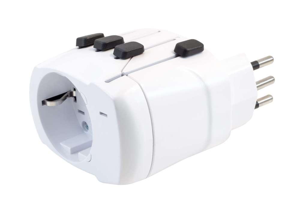 medium resolution of close up of an universal travel adapter