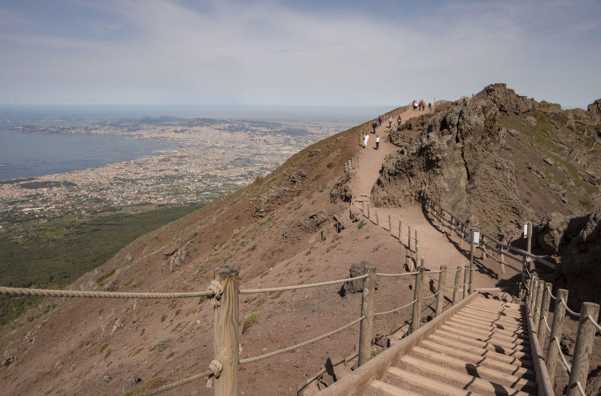 hight resolution of vesuvius crater walk looking down on naples