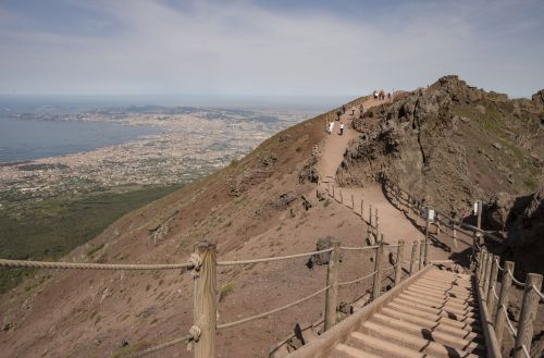 small resolution of vesuvius crater walk looking down on naples