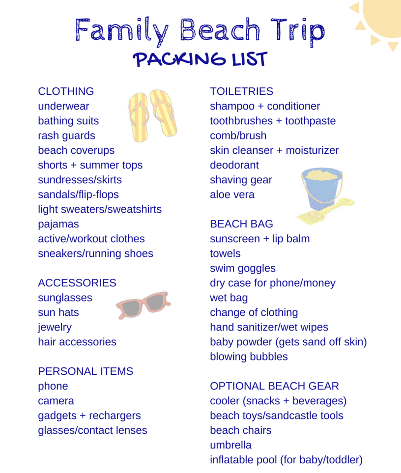 Free Packing Lists for All Kinds of Family Vacations