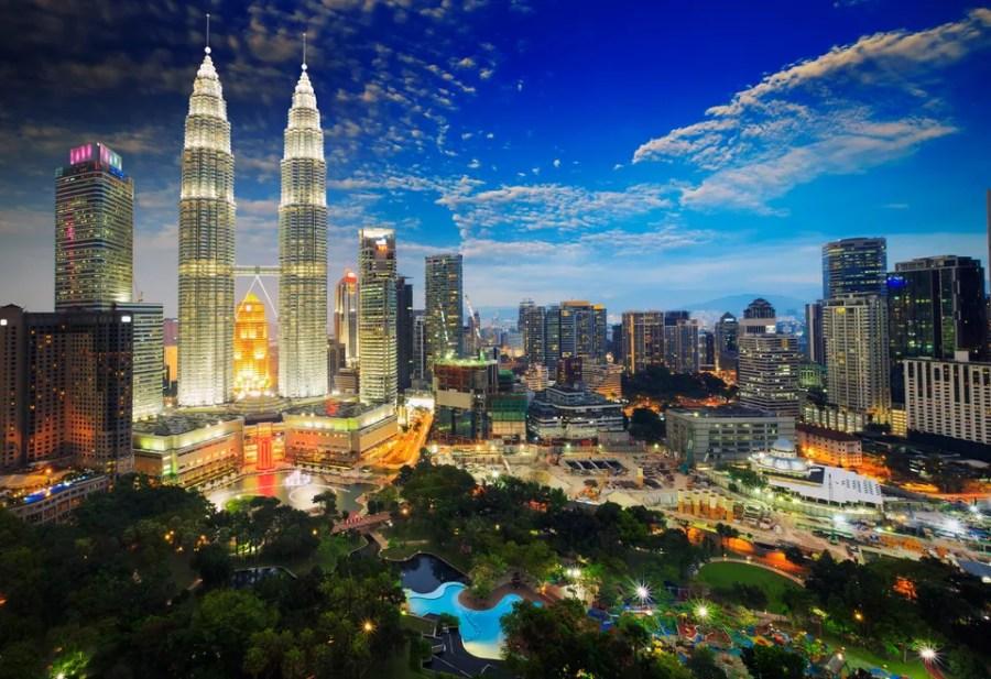 Top view of kuala lumper skyline at twilight Lumpur, Malaysia