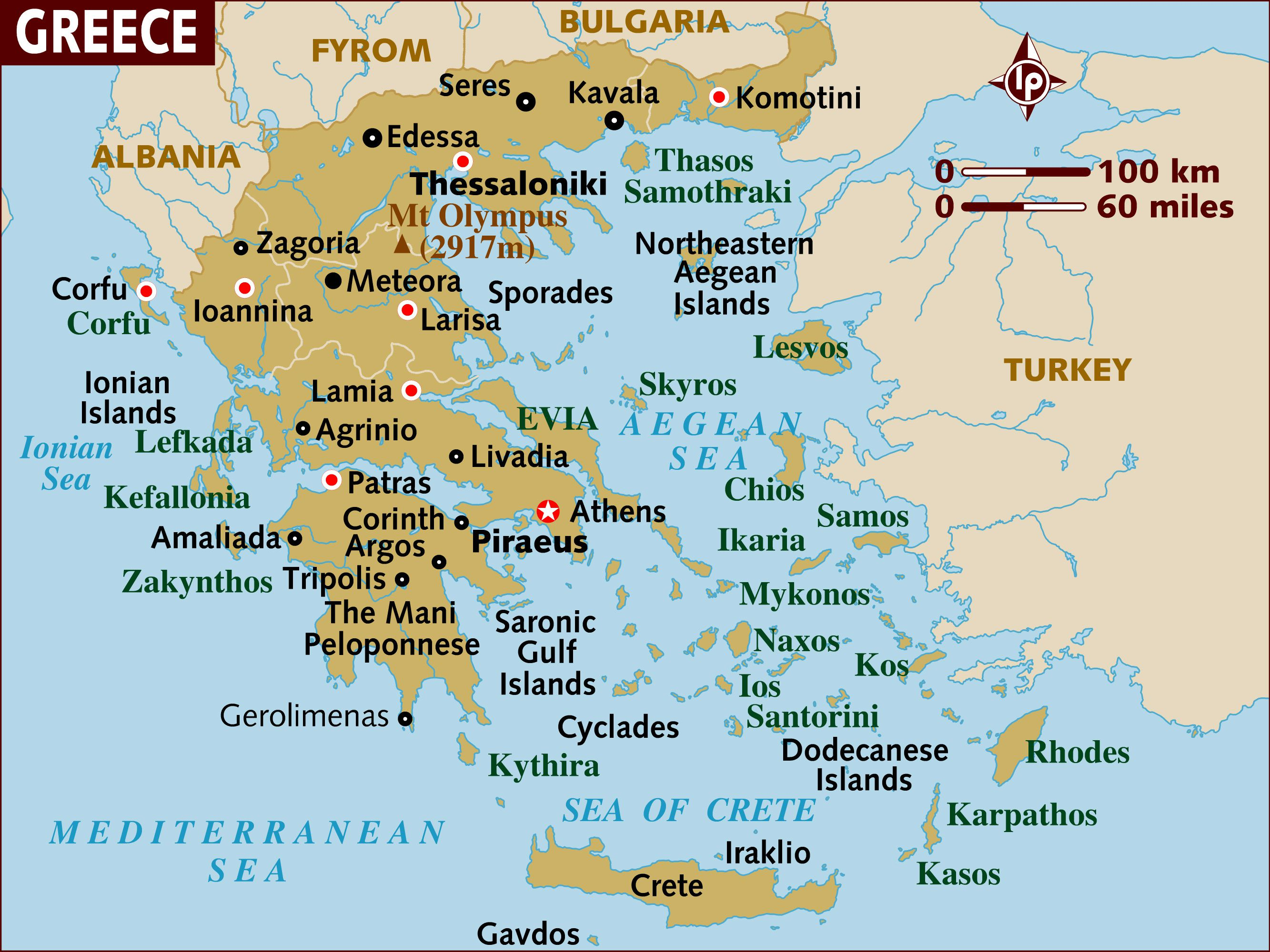 map of greece a