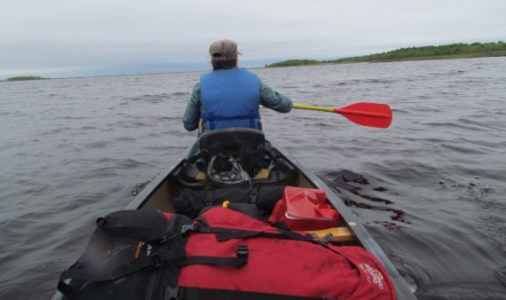 DD took the lead as we paddled into the winds towards our cap site!