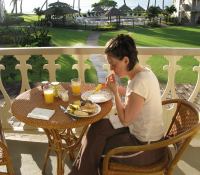 The sun was shining in the morning on the Lanai of the hotel. We loved having the suite! At $325 per night it is no wonder!