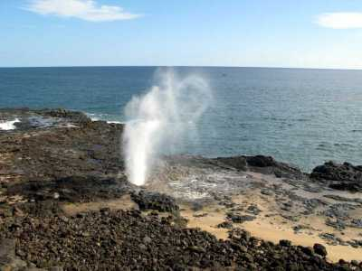 Spouting Horn on Kauai. It was a calm day so we had to wait for the sea to fill the lava tubes enough to create the plume of spray...one spray happened every 2 minutes.