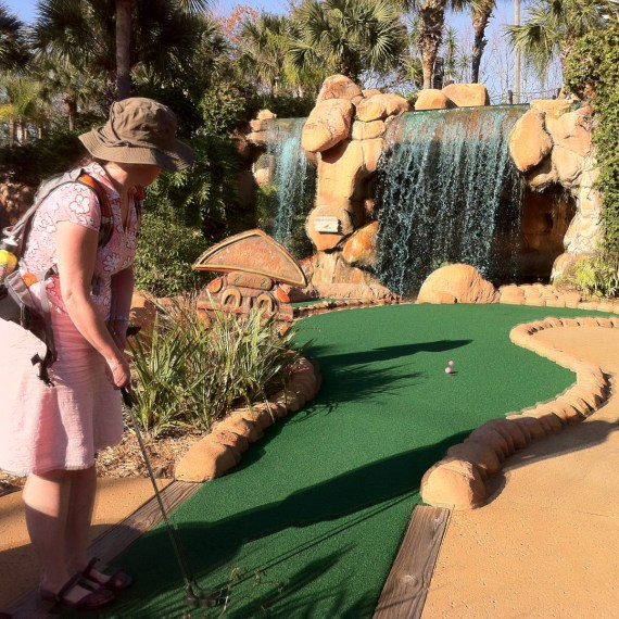 What a fun mini-putt! There were gators, caves, totems and rivers!