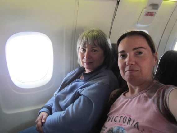 DD and Mama D on the Air Canada Express flight from Vancouver to Victoria BC: the smallest plane we've ever taken.