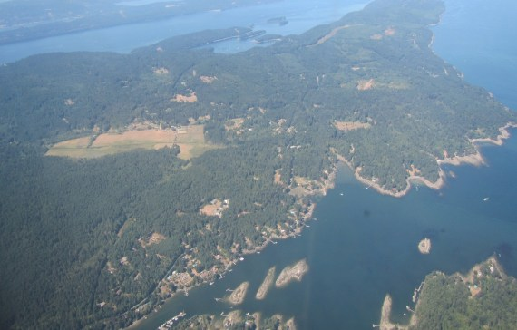 The view from our flight from Vancouver to Victoria on Vancouver Island in British Columbia, Canada