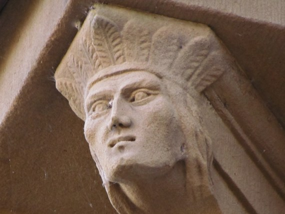 The Fredericton Parliament Buildings are adorned with many small faces mainly of English Royalty or the families of the architects. There are only two carved heads on the building showing the faces of the natives of this region.