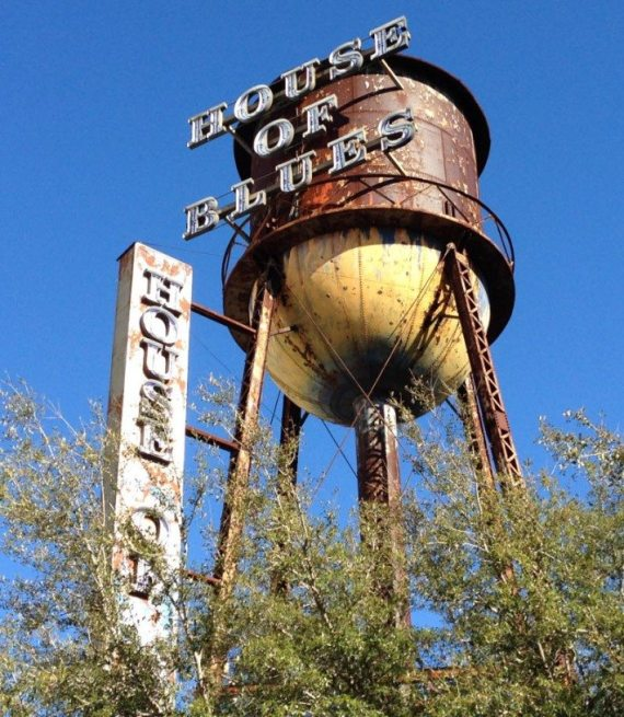 The rustic looking water tower tank at the House of Blue in Downtown Disney!