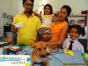 Happy children and dog
