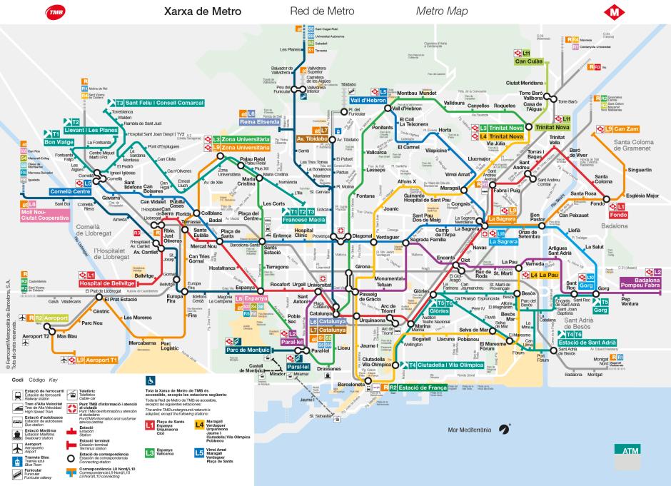 Plànol xarxa de Metro_febrer 2016 ©TMB