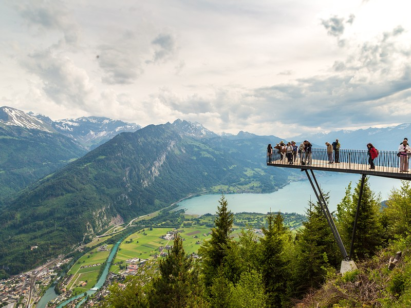 People standing on the observation deck in Interlaken in a beautiful summer day Switzerland
