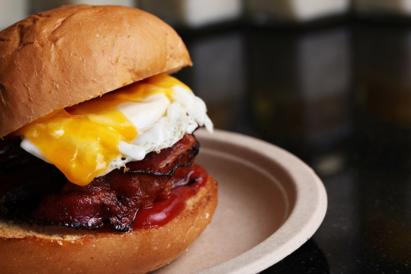 Eggslut brioche with fried egg and bacon