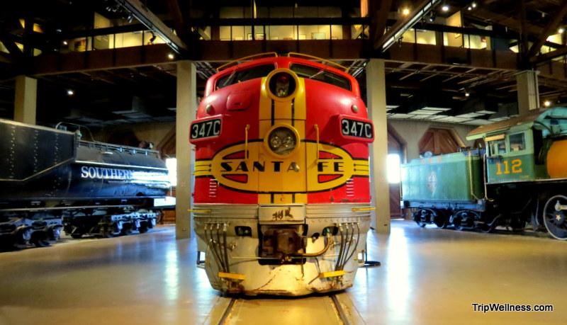 Train inside the California State Train Museum, trip wellness,