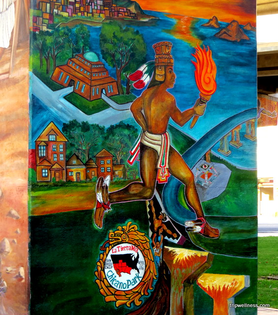 Detail from Aztlan mural
