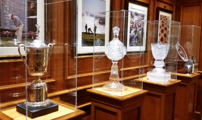 Tournament trophies in the Pebble Beach Golf Resort Lodge.
