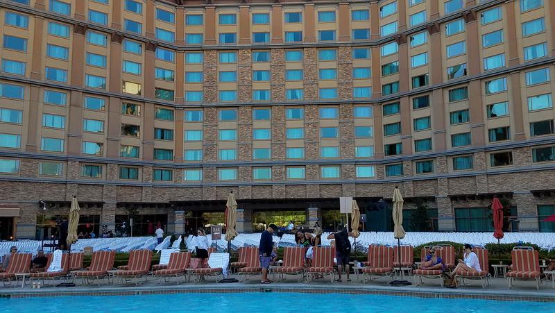 The Pala Casino Resort rises above the pool