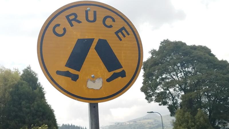 Cruce - Crosswalk sign in Quito, Ecuador