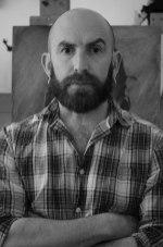 Simon-Davis-studio-West-Ham-London-E13-arms-folded-27th-May-2015-grey-pic#1