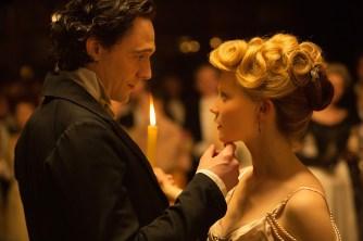 Sharpe (Hiddleston) sweeps Edith (Mia Wasikowska) off her feet