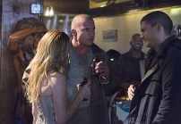 "DC's Legends of Tomorrow -- ""Pilot, Part 1""Pictured (L-R) Caity Lotz as Sara Lance/White Canary, Dominic Purcell as Mick Rory/Heat Wave and Wentworth Miller as Leonard Snart/Captain Cold -- Photo: Jeff Weddell/The CW © 2015 The CW Network, LLC. All Rights Reserved."
