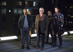 "DC's Legends of Tomorrow -- ""Pilot, Part 1"" Pictured (L-R): Franz Drameh as Jefferson ""Jax"" Jackson, Ciara Renee as Kendra Saunders/Hawkgirl, Victor Garber as Professor Martin Stein, Falk Hentschel as Carter Hall/Hawkman and Brandon Routh as Ray Palmer/Atom -- Photo: Jeff Weddell/The CW © 2015 The CW Network, LLC. All Rights Reserved"