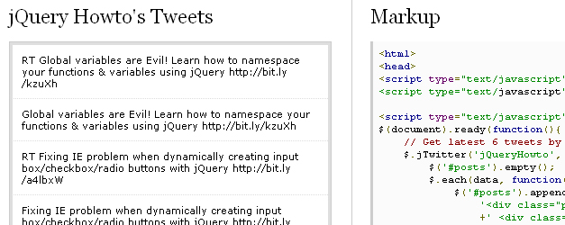 Jquery twitter api plugin