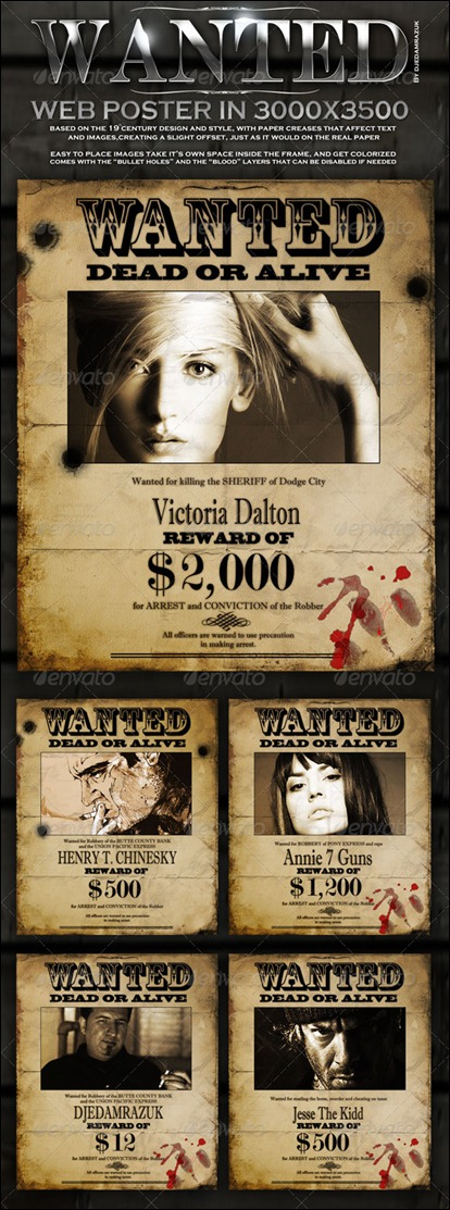 """Old """"Wanted"""" Poster – Editable"""