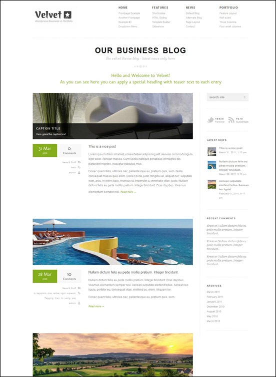 velvet wordpress theme