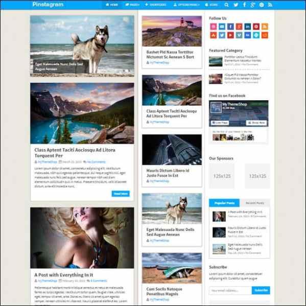 Pinstagram – Pinterest Inspired WordPress theme