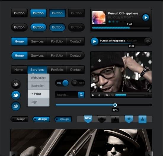 Media-Black-UI-Kit