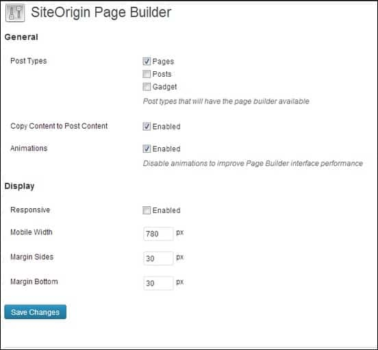 SiteOrigin-PageBuilder-Settings-Page