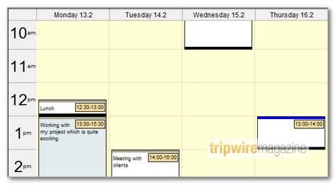 DHTML Week planner