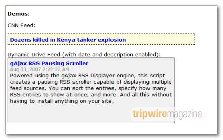 Pausing RSS scroller