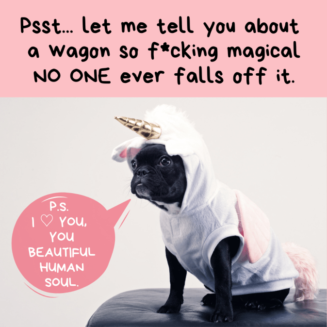 sobriety and relapse pic: dog wearing unicorn outfit and talking about a magical wagon