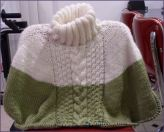 poncho with cable and double seed stitch panel