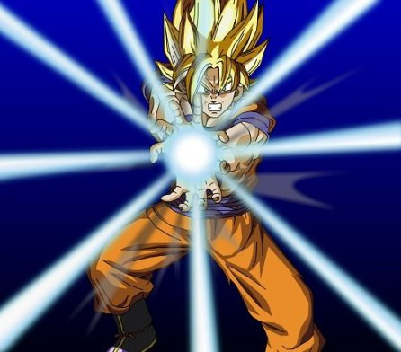 Goku in Super Saiyan Form about to fire a Kamehameha Wave