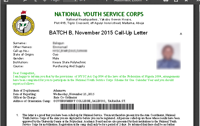 NYSC Call-Up Letter priting