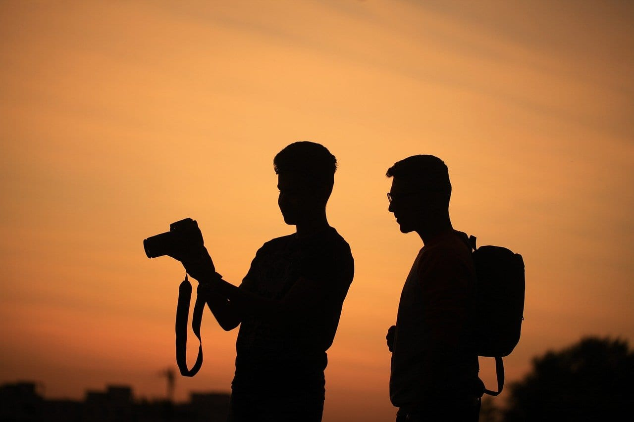 men, silhouettes, camera