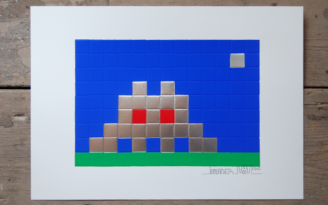 Embossed screenprint by Invader