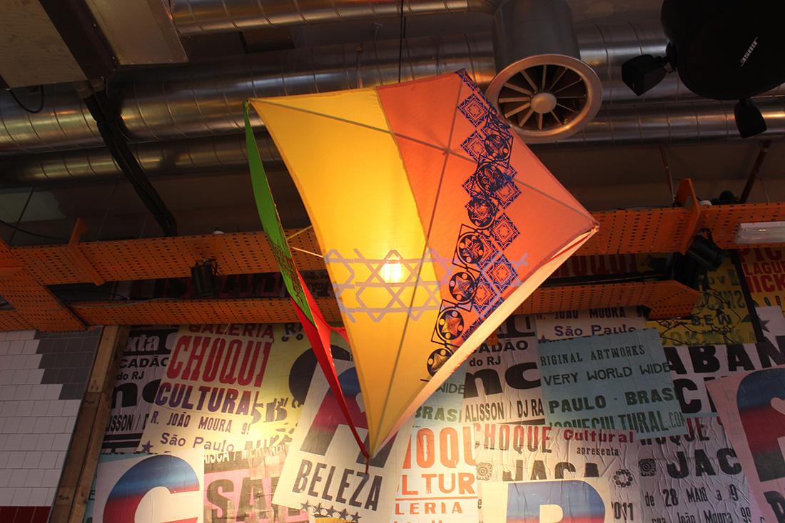Lighting Design for Cabana Brixton, screenprinted kite lampshades
