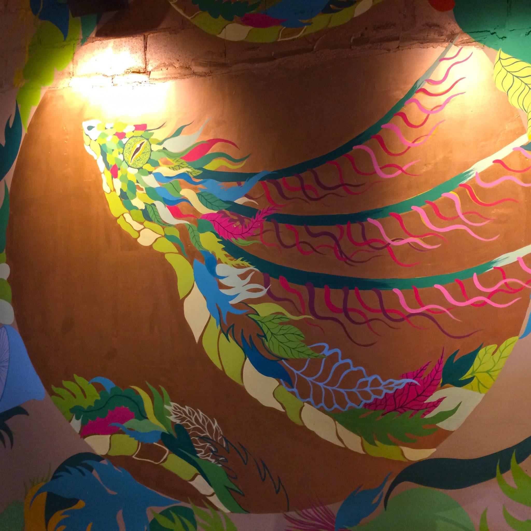 Wahaca Winchester Restaurant design, Mural commission, Gola Hundun