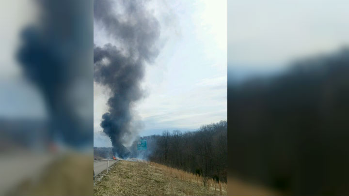 Update: Eastbound lanes of I-64 reopens after semi-truck fire